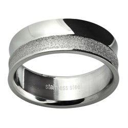 Stainless Steel Men's Polished and Diamond-cut Wedding-style Band