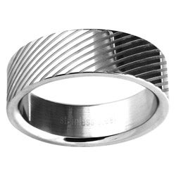 Stainless Steel Men's Lined Wedding-style Band