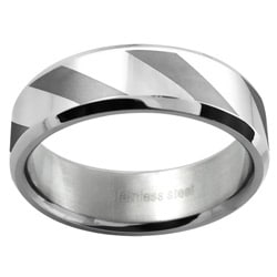 Stainless Steel Women's Striped Wedding-style Band