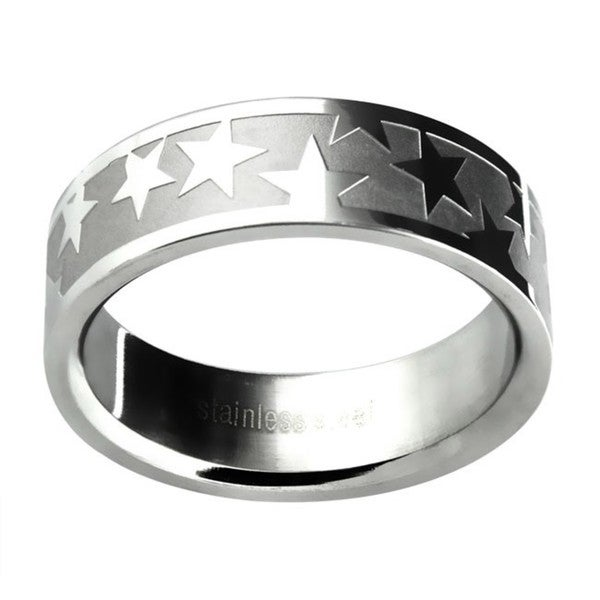 Stainless Steel Men's Etched Star Wedding-style Band
