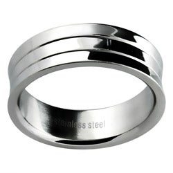Stainless Steel Men's Lined Concave Wedding-style Band