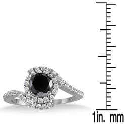 10k White Gold 1 1/2ct TDW Black and White Diamond Halo Ring (I-J, I1-I2)