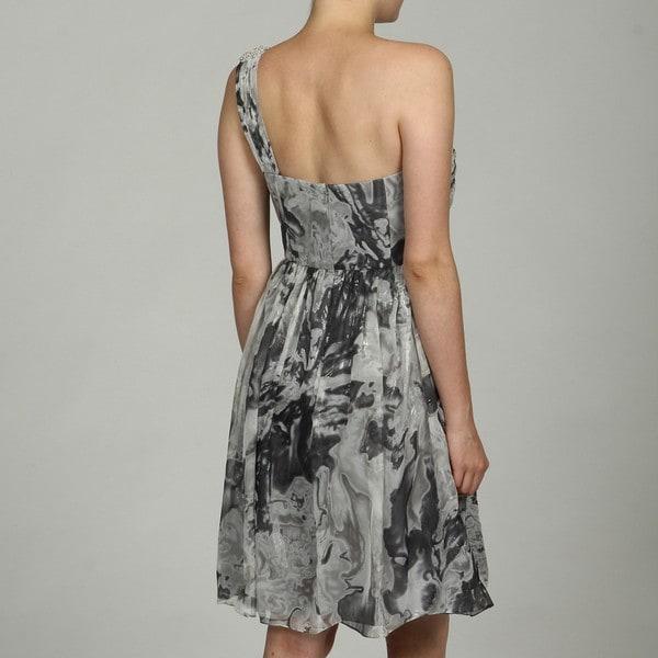 OC by Oleg Cassini Women's Beaded Metallic Chiffon Dress