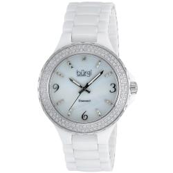Burgi Women's Diamond Ceramic Mother-of-Pearl White Quartz Watch