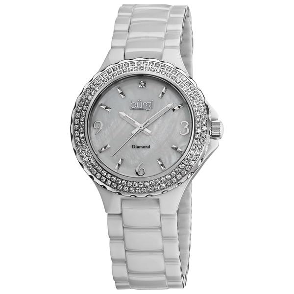 Burgi Women's Diamond Ceramic Mother-of-Pearl White Quartz Watch