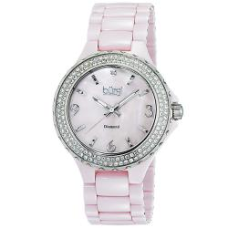 Burgi Women's Diamond Ceramic Mother of Pearl Quartz Watch