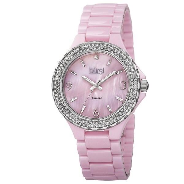 Burgi Women's Diamond Ceramic Mother of Pearl Quartz Watch