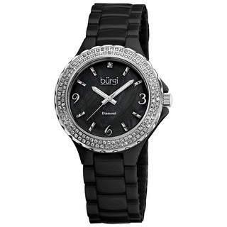 Burgi Women's Diamond Ceramic Mother-of-Pearl Black Quartz Watch