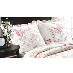 Coral Red Quilted Standard-size Shams (Set of 2)