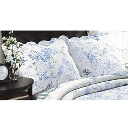 Coral Blue Quilted Standard-size Shams (Set of 2)
