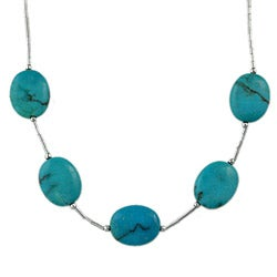 Silvermoon Sterling Silver Turquoise Oval Necklace