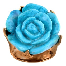 Silvermoon Copper Carved Howlite Flower Ring