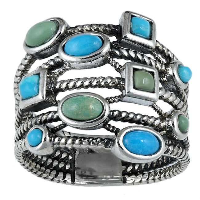 Southwest Moon Sterling Silver Blue and Green Turquoise Roped Band