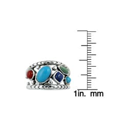 Southwest Moon Sterling Silver Multi-gemstone Ring