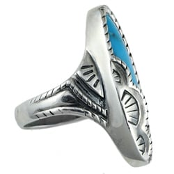 Southwest Moon Sterling Silver Turquoise Oval Ring