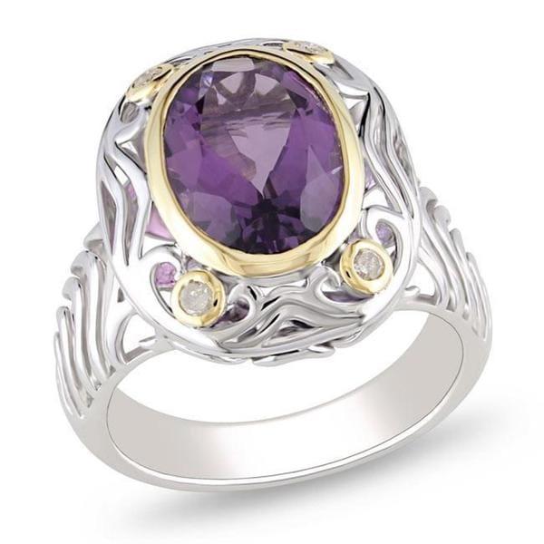 Miadora Sterling Silver Amethyst and 1/10ct TDW Diamond Ring (G-H, I3)