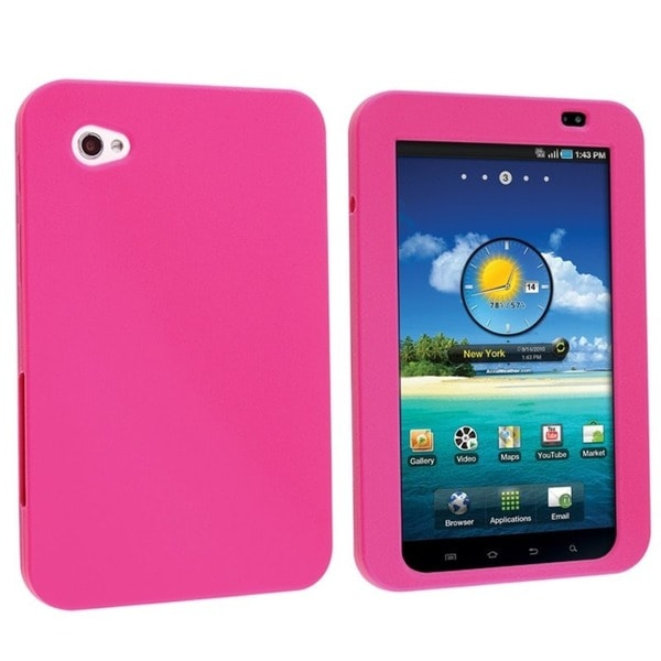 Insten Hot Pink Soft Silicone Skin Gel Rubber Tablet Case for Samsung Galaxy Tab P1000 7-inch