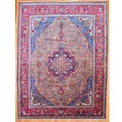 Persian Hand-knotted Brown/ Red Tabriz Wool Rug (10' x 13')