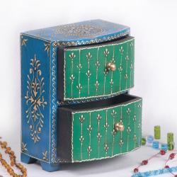 Wooden Hand-painted Green and Blue 2-drawer Jewelry Box (India)