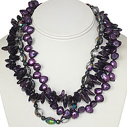 Pewter Amethyst/ FW Pearl/ Crystal Multi-strand Necklace (11mm) (USA)