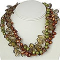 Silver Citrine, FW Pearl and Crystals Necklace (10-13 mm) (USA)