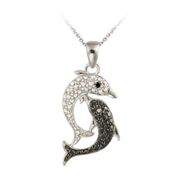 DB Designs Sterling Silver Black Diamond Accent Dolphin Necklace