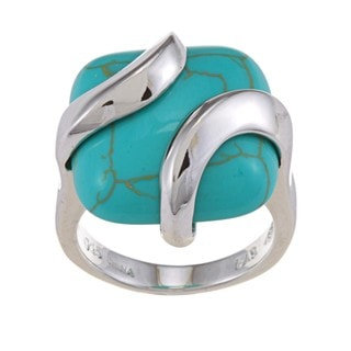 Glitzy Rocks Sterling Silver Square Turquoise Ring