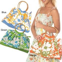 Floral Bamboo Handle Handbag (India)