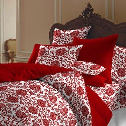 Red and White Flower Brocade Duvet Cover Set (India)