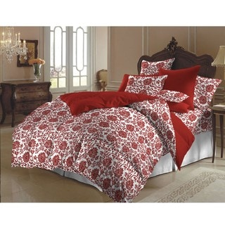 Red and White Flower Brocade Queen-size Duvet Cover Set (India)