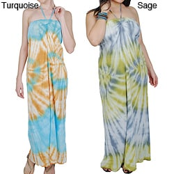 Women's Cotton Tie-dye Maxi Dress (Nepal)