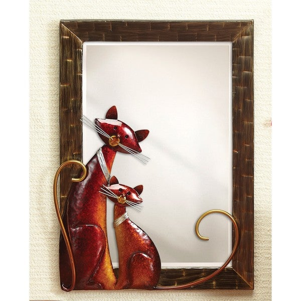 Large Metal Cats Wall Mirror