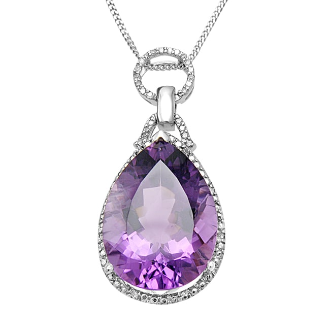 Hollywood Retro Silver Amethyst and 2/5ct TDW Diamond Necklace (I-J, I1-I2)