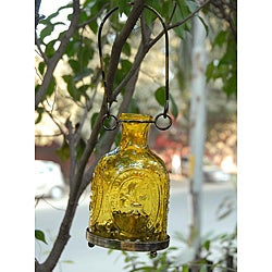 Glass and Brass Yellow Hanging Lantern (India)
