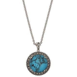 Sterling Silver Tuquoise, Crystal and Marcasite Necklace