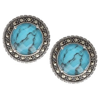 Sterling Silver Turquoise, Crystal and Marcasite Earrings