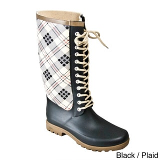 Rugged Shark Women's Raindeers Fashion Plaid Rainboots