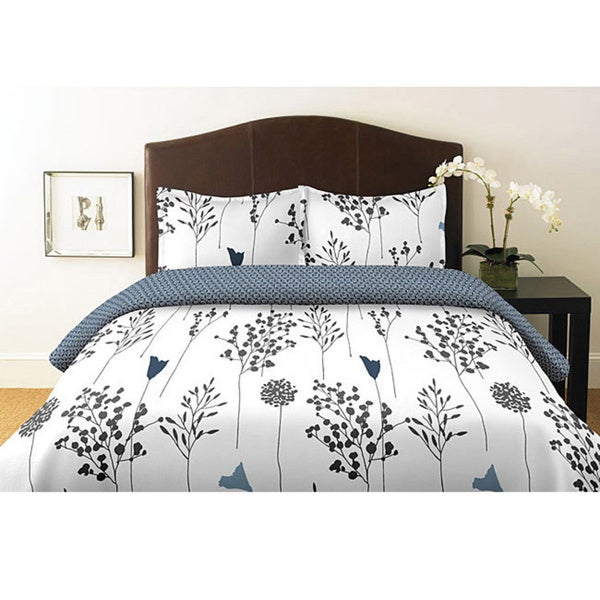 Perry Ellis Asian Lilly White Twin-size 2-piece Duvet Cover Set