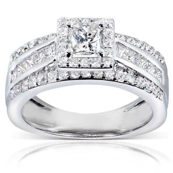 Annello 14k White Gold 1 1/5ct TDW Diamond Engagement Ring (H-I, I1-I2)
