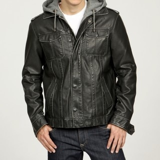 Izod Men's Faux Leather Fleece Hooded Zip-out Jacket - Overstock Shopping - Big Discounts on Izod Jackets