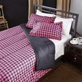 Pink/ Black Houndstooth 3-Piece Full/ Queen-size Comforter Set