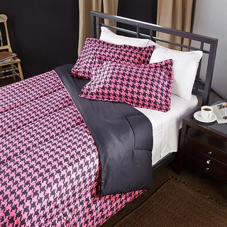 Pink/ Black Houndstooth Twin-size 2-piece Comforter Set