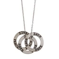 La Preciosa Sterling Silver 'Love, Hope, Peace' Open Circle Necklace