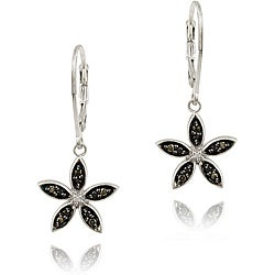 DB Designs Sterling Silver Black Diamond Accent Flower Earrings