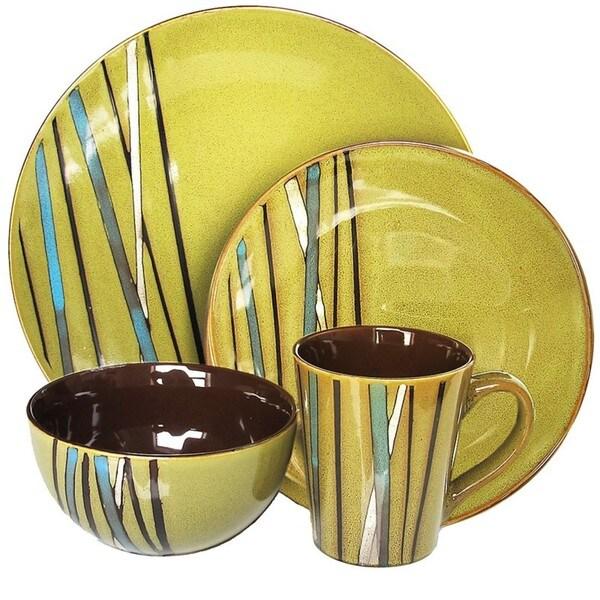 American Atelier Stix Green 16-piece Dinnerware Set