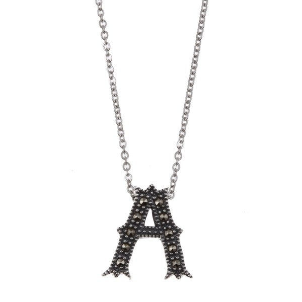 MARC Sterling Silver Marcasite Initial 'A' Necklace