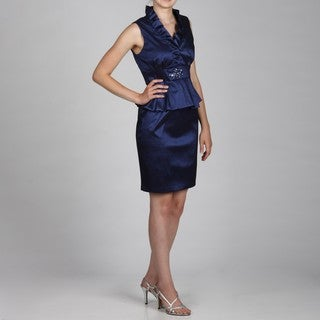 Jessica Howard Petite Ruffled Neck Peplum Beaded Dress FINAL SALE