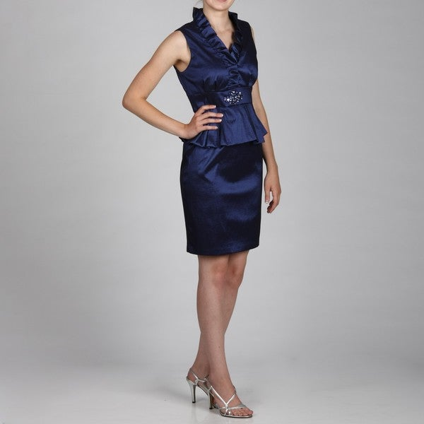 Jessica Howard Petite Ruffled Neck Peplum Beaded Dress FINAL SALE
