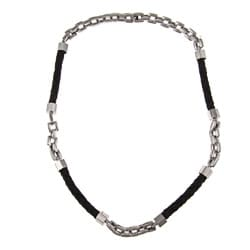 Stainless Steel and Black Leather Men's Necklace