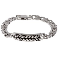 Stainless Steel Men's Braided Design ID Bracelet